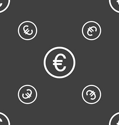 Euro icon sign Seamless pattern on a gray vector image