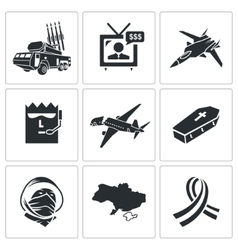 Fall Malaysian aircraft Icons Set vector