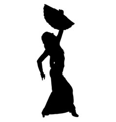 Flamenco dancer with a fan vector