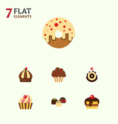 Flat cake set of dessert muffin pastry and other vector