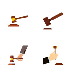 flat icon hammer set of hammer law crime and vector image