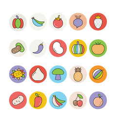 Fruits and Vegetables Icons 3 vector
