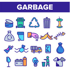 Garbage recycling linear icons set thin vector