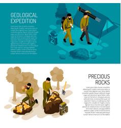 Geologist isometric banners vector