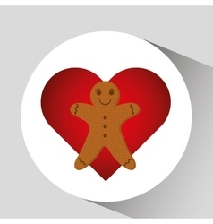 Gingerman cookie cartoon happy and hearts vector