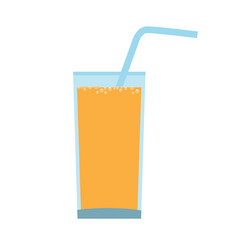 Glass with orange juice with straw and carbonated vector