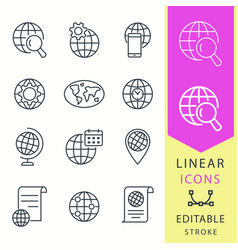 Globe - line icon set editable stroke vector