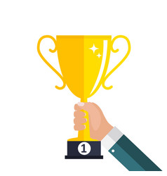 gold cup prize trophy winner icon vector image