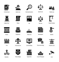 Government legislation glyph icons pack vector