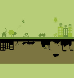 Green sustainable and polluted cities vector