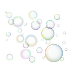 group of soap bubbles on white background vector image