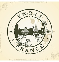 Grunge rubber stamp with Paris France vector image