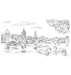 Hand drawing prague 8 vector