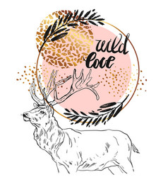 hand drawn card template with sketched deer vector image