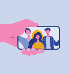 hands holding mobile phone for selfie vector image