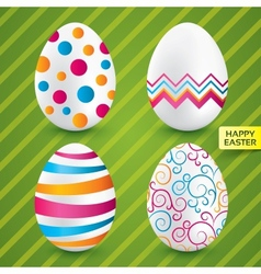 Happy easter white eggs with colorful patterns vector image