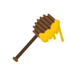 Honey spoon icon flat style vector