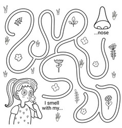 i can smell with my nose black and white maze game vector image