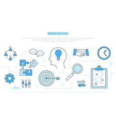 Innovation concept with team brainstorming idea vector