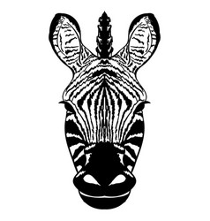 Isolated head of striped zebra sketch vector