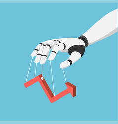 isometric ai robot hand puppet and controlling vector image