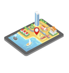 isometric gps map tablet pc mobile navigation vector image