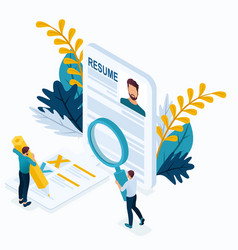 isometric man makes a resume for the job vector image
