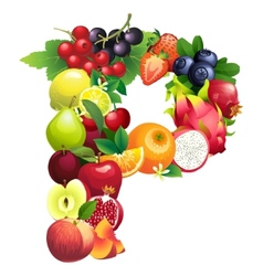 Letter p composed different fruits with leaves vector