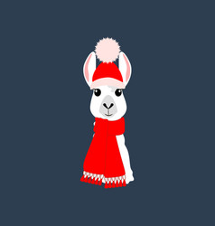Llama in hat and scarf vector