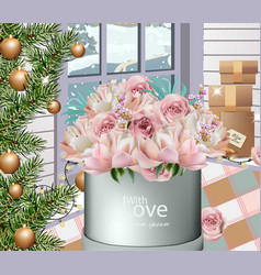lovely roses bouquet and winter decorations vector image
