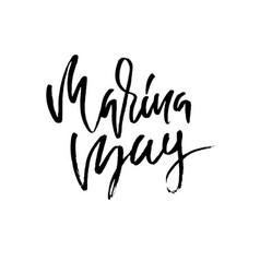 Marina bay lettering modern brush lettering vector