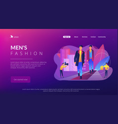 Men style and fashion concept landing page vector
