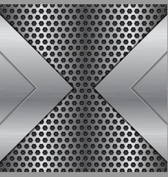 Metal perforated background brushed iron texture vector