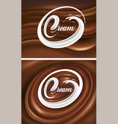 Milk tongue splash on chocolate waves background vector