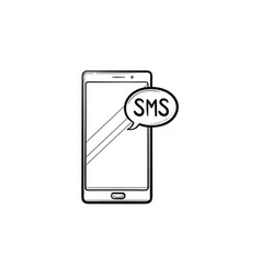 mobile phone with sms hand drawn outline doodle vector image