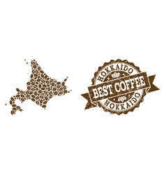 Mosaic map of japanese hokkaido with coffee beans vector