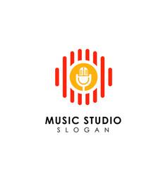 music records logo design microphone icon symbol vector image
