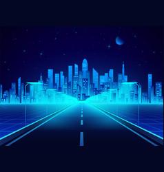 neon retro city landscape in blue colors highway vector image
