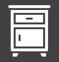 Nightstand solid icon furniture and interior vector