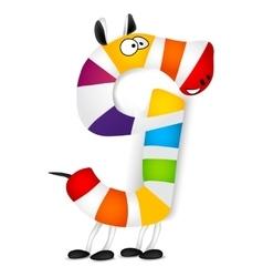 Number nine made colorful animal cartoon vector