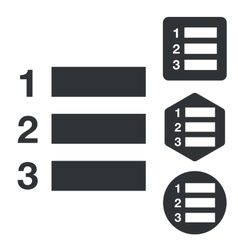 Numbered list icon set monochrome vector