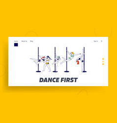 Pole dance landing page template pole dancer vector