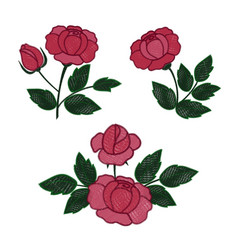 Rose embroidery set vector