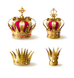 Royal family golden crowns realistic set vector