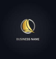 Sailing boat yacht gold logo vector
