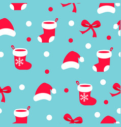 seamless christmas pattern with santa claus socks vector image