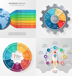 Set 4 infographic templates with 7 processes vector