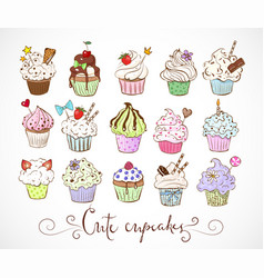 set doodle sketch cupcakes with decorations on vector image