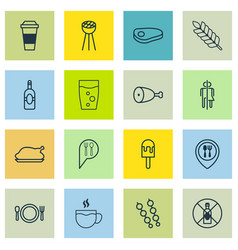 set of 16 eating icons includes steak hooch vector image