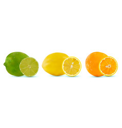 set of citrus fruit lime orange and lemon vector image